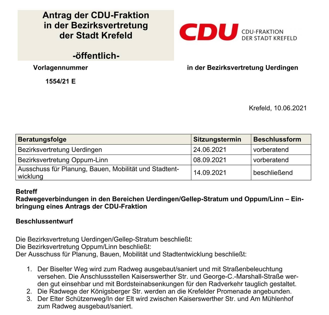Radwegeverbindungen in den Bereichen Uerdingen/Gellep-Stratum und Oppum/Linn - Ortsverband der CDU Gellep-Stratum